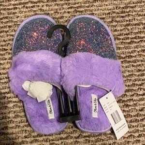 Purple sparkle slippers